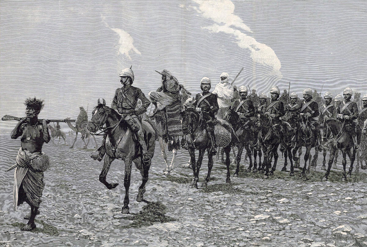 19th Hussars crossing the desert: Battle of Abu Klea fought on 17th January 1884 in the Sudanese War: picture by Richard Caton Woodville