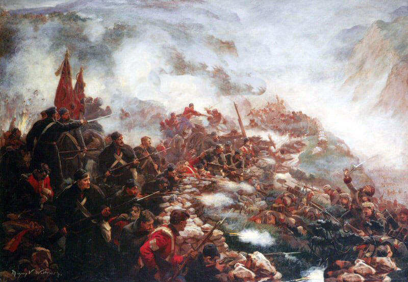 21st Royal North British Fusiliers defending the Barrier at the Battle of Inkerman on 5th November 1854 in the Crimean War: picture by Marjorie Weatherstone