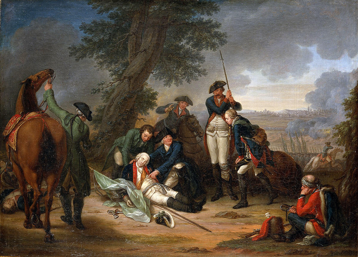 Death of Field Marshal Schwerin at the Battle of Prague 6th May 1757 in the Seven Years War: picture by Johann Christoph Frisch
