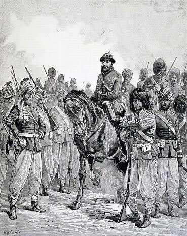 Afghan troops: Battle of Charasiab on 9th October 1879 in the Second Afghan War
