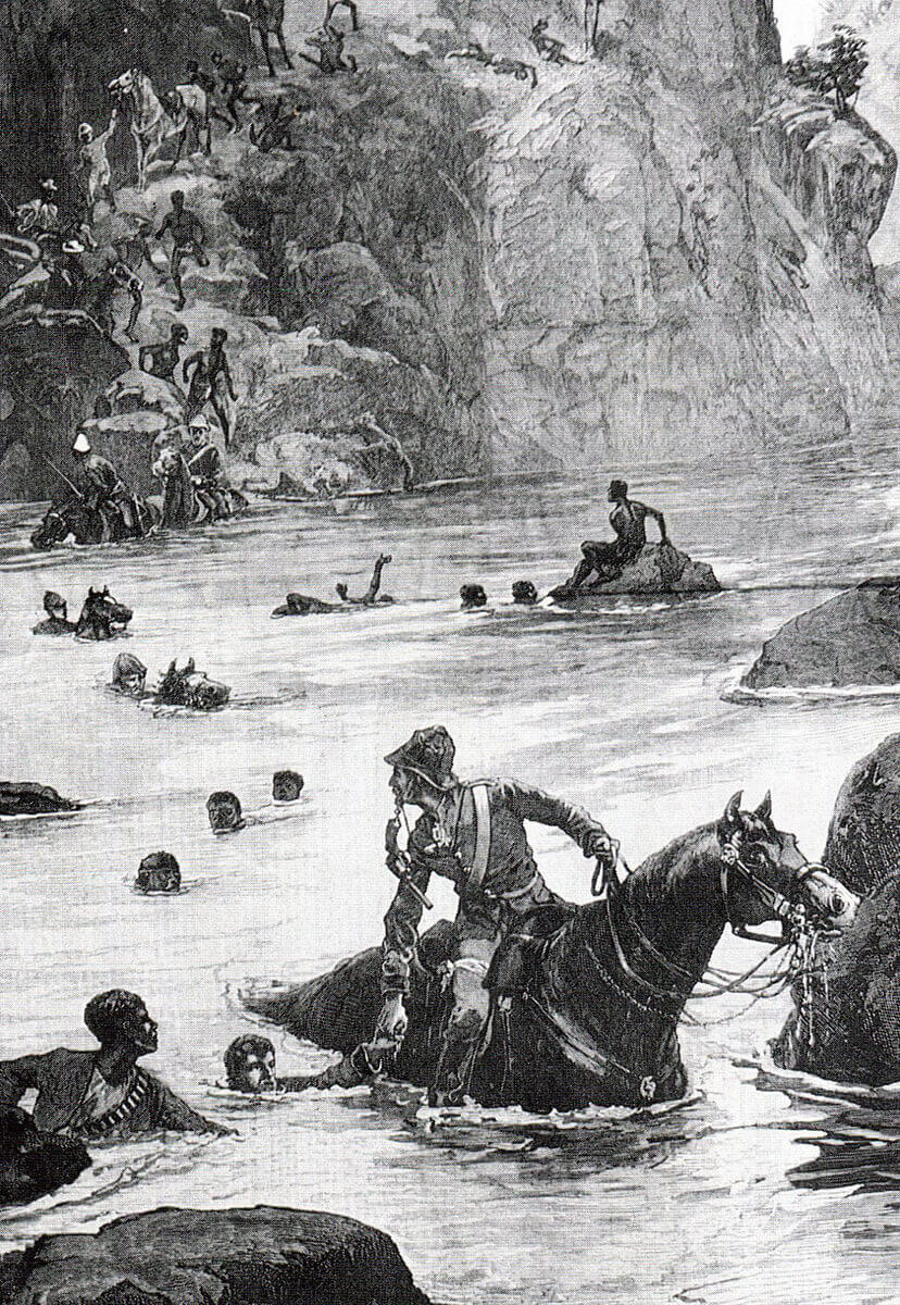British troops escaping across the Buffalo River after the Battle of Isandlwana on 22nd January 1879 in the Zulu War