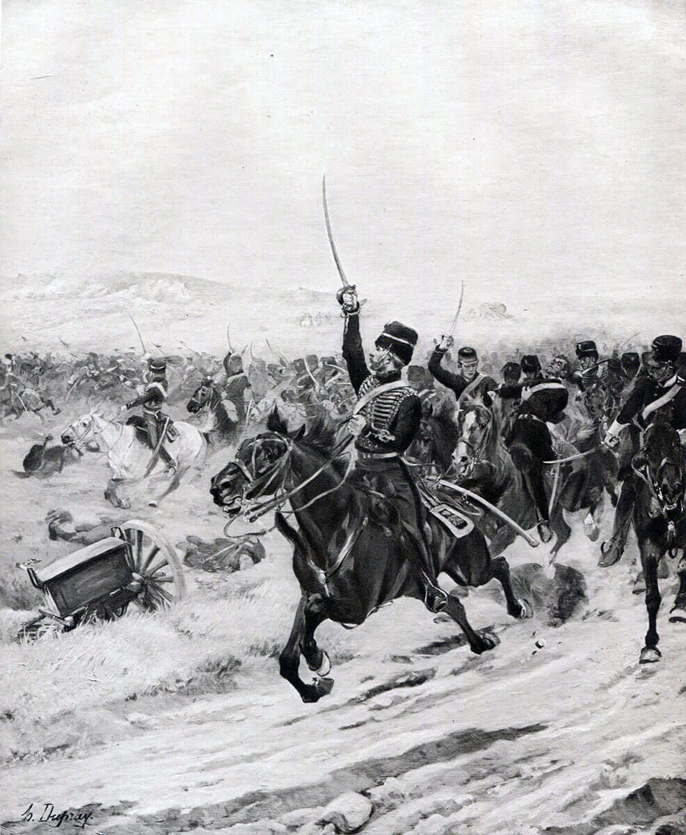Charge of the Light Brigade at the Battle of Balaclava on 25th October 1854 in the Crimean War: picture by Henri Dupray