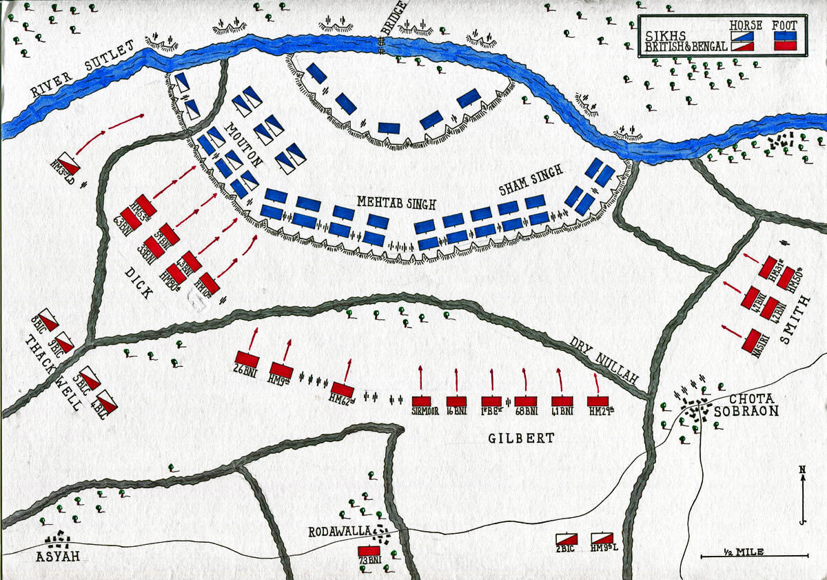 Map of the Battle of Sobraon on 10th February 1846 during the First Sikh War: map by John Fawkes