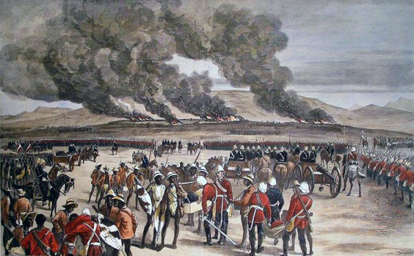 Inside the British square at the Battle of Ulundi on 4th July 1879 in the Zulu War