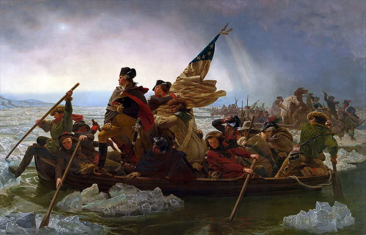 General George Washington crossing the Delaware at the Battle of Trenton on Christmas night 1776 by Emmanuel Leutze