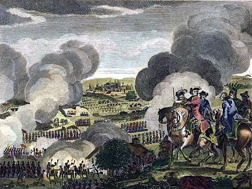 Contemporary image of the Battle of Prague on 6th May 1757 in the Seven Years War