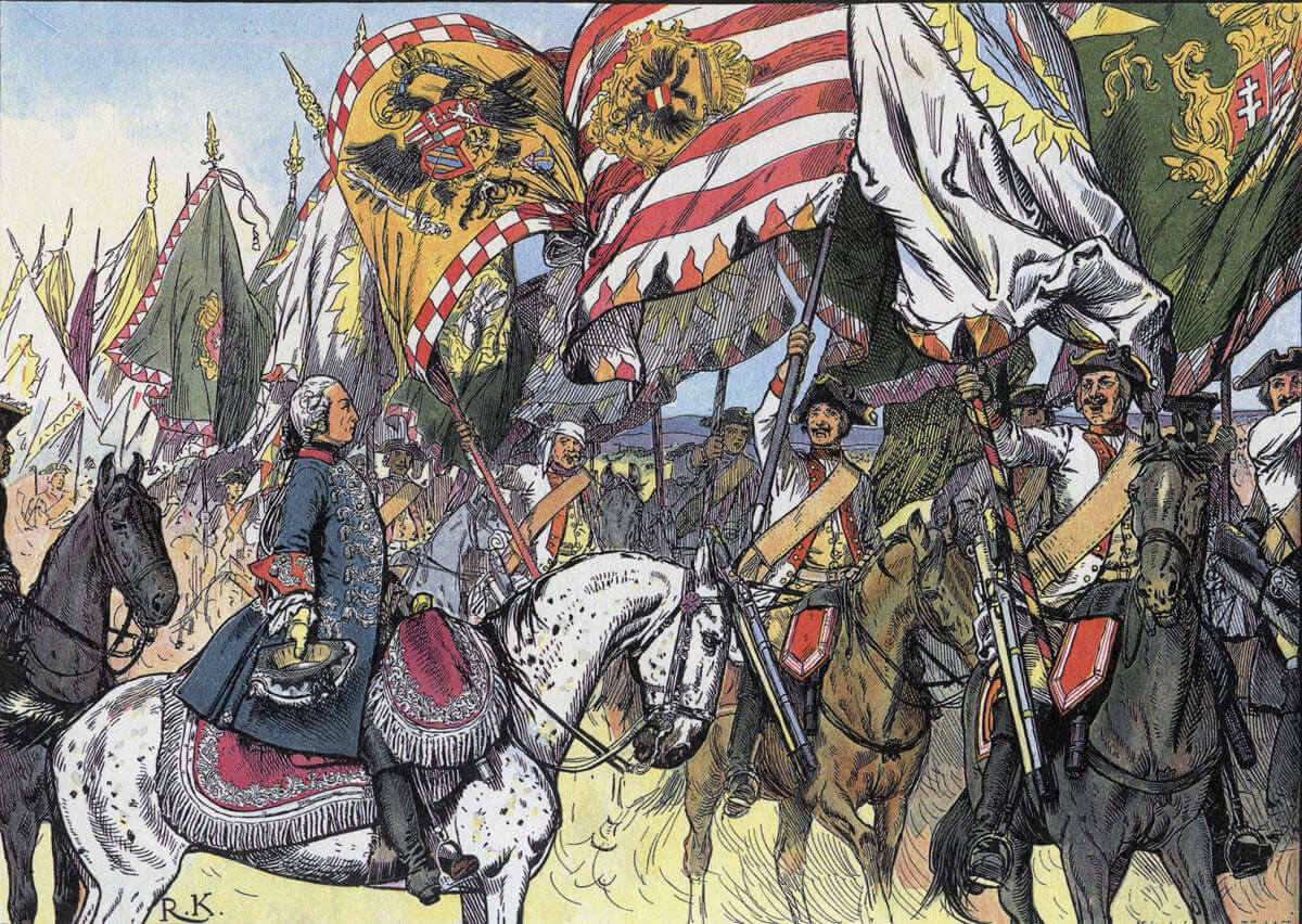 Bayreuth Dragoons parade captured Austrian colours before Frederick the Great after the Battle of Hohenfriedberg 4th June 1745 in the Second Silesian War: Picture by Richard Knötel