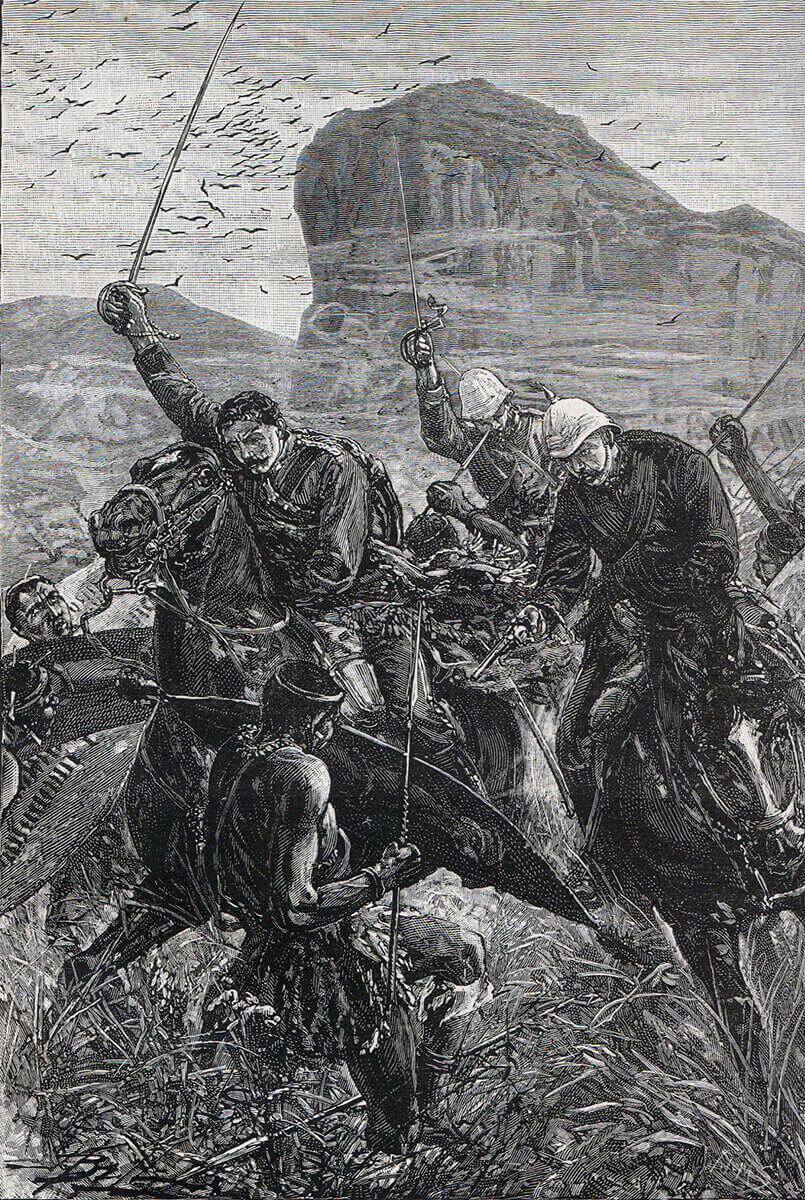 Escape of Lieutenants Melville and Coghill with the Queen's Colour of the 24th Regiment at the Battle of Isandlwana on 22nd January 1879 in the Zulu War