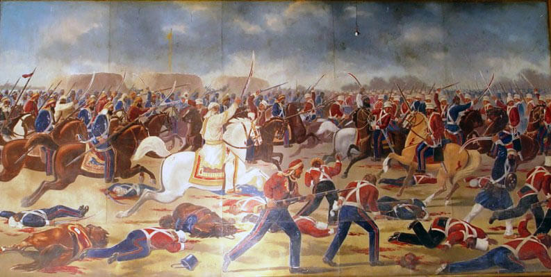 Shaam Singh Attari leading the last Sikh charge at the Battle of Sobraon on 10th February 1846 during the First Sikh War