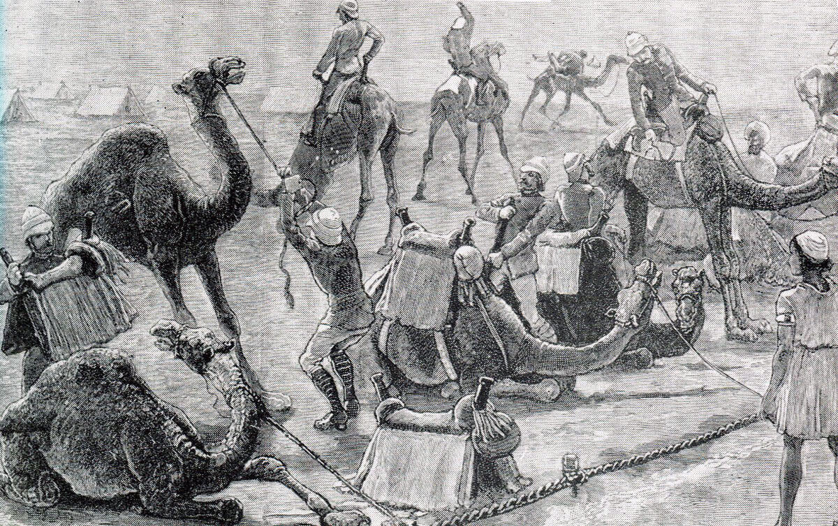 British Camel Corps mastering their new mounts: Battle of Abu Klea on 17th January 1885 in the Sudanese War