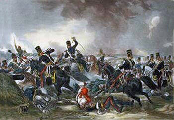 Attack of the British 3rd King's Own Light Dragoons at the Battle of Ferozeshah on 22nd December 1845 during the First Sikh War