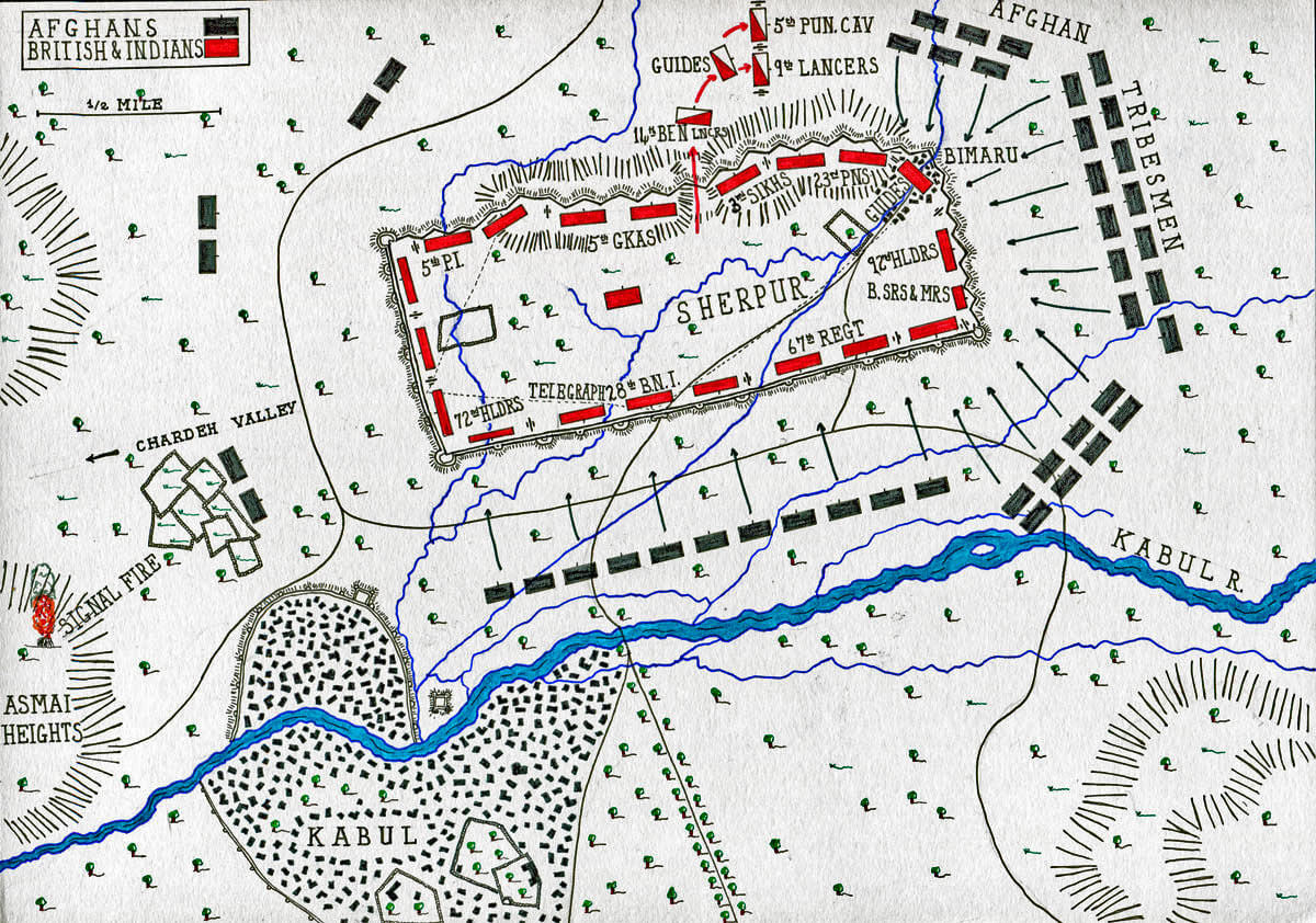 Map of the Battle of Kabul December 1879 in the Second Afghan War: map by John Fawkes