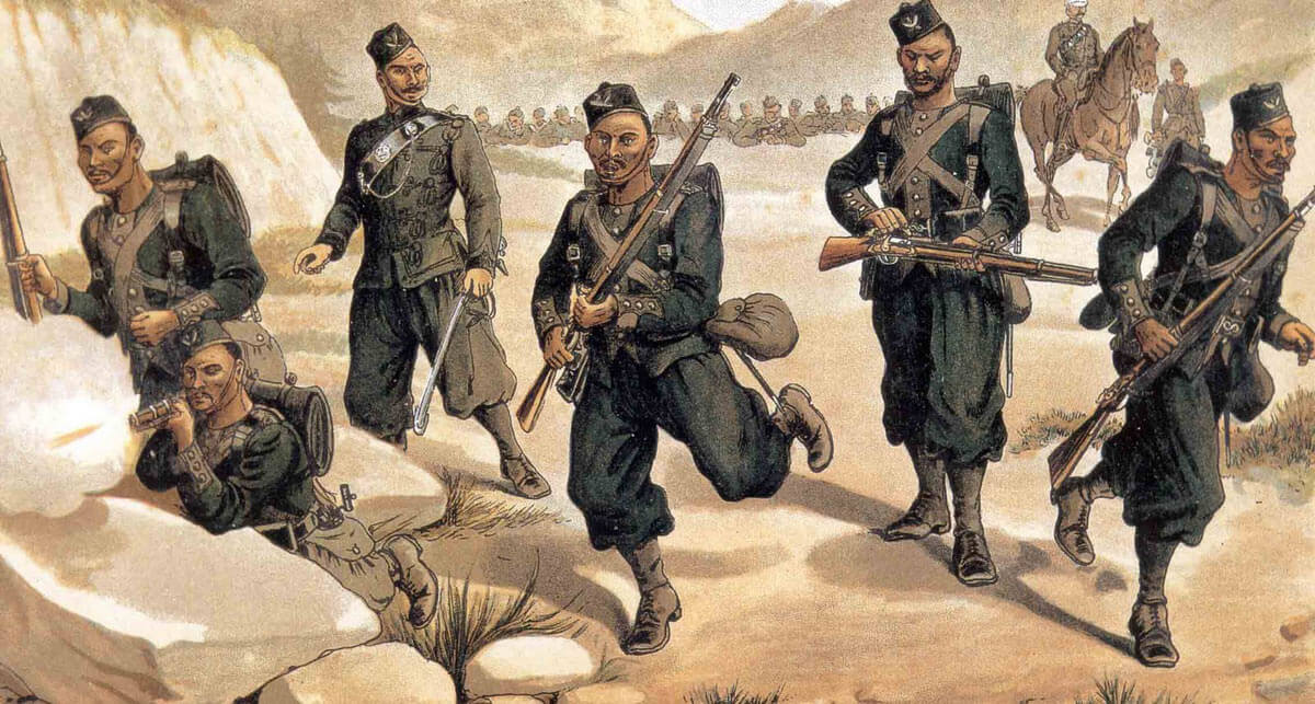 3rd Gurkhas: Battle of Ahmed Khel on 19th April 1880 in the Second Afghan War: picture by Richard Simkin