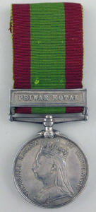 Second Afghan War medal with clasp for the Battle of Peiwar Kotal on 2nd December 1878 in the Second Afghan War