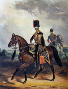 8th Hussars: Charge of the Light Brigade at the Battle of Balaclava on 25th October 1854 in the Crimean War: picture by Ackermann