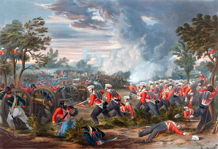 British infantry attack at the Battle of Moodkee on 18th December 1845 during the First Sikh War: picture by Henry Martens