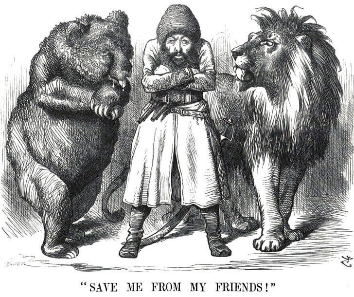 Cartoon showing Sher Ali, the Amir of Afghanistan, between the Russian Bear and the British Lion: Battle of Ali Masjid on 21st November 1878 in the Second Afghan War
