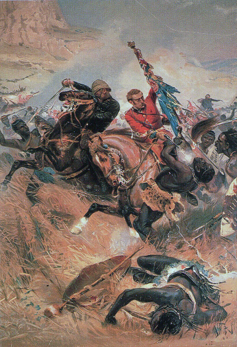Lieutenants Melville and Coghill rescue the colour of the 24th Regiment at the Battle of Isandlwana on 22nd January 1879 in the Zulu War: picture by Alphonse de Neuville