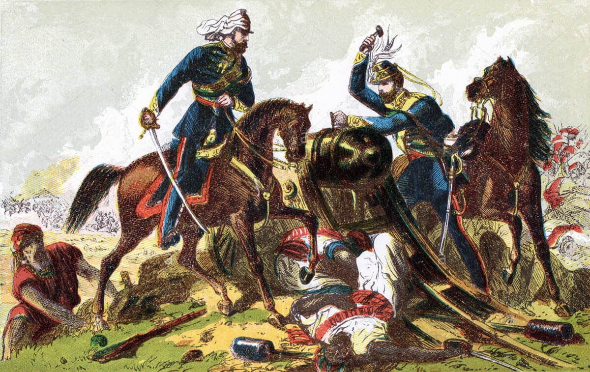 Light Dragoons spiking a Sikh gun at the Battle of Aliwal on 28th January 1846 in the First Sikh War