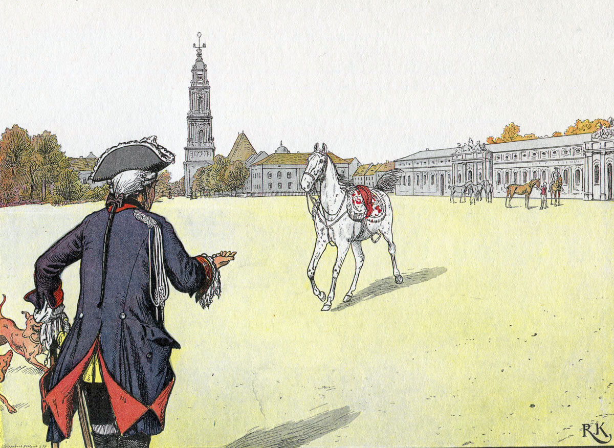 Frederick the Great greeting the Mollwitz Grey in later life: Battle of Mollwitz fought on 10th April 1745 in the First Silesian War: picture by Richard Knötel