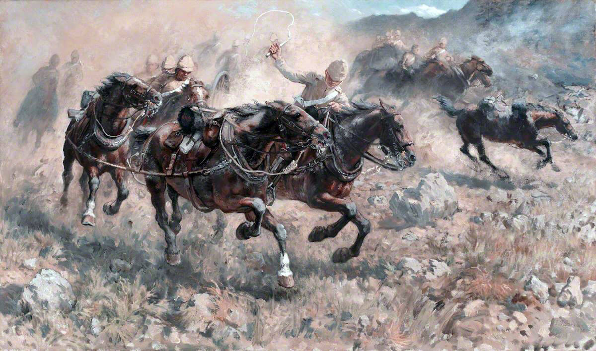 Saving the guns at the Battle of Maiwand on 26th July 1880 in the Second Afghan War: picture by James Prinsep Beadle
