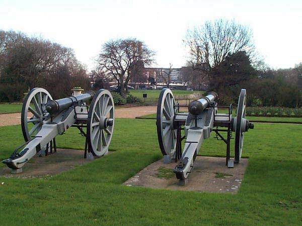 Sikh guns captured at the Battle of Chillianwallah on 13th January 1849 during the Second Sikh War and now in Chelsea Hospital in London
