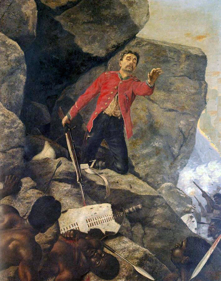 'The Last of the 24th' at the Battle of Isandlwana on 22nd January 1879 in the Zulu War: picture by Richard Thomas Moynan