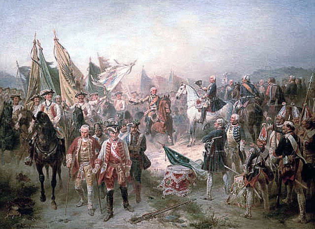 Captured Austrian and Saxon officers reviewed by Frederick the Great after the Battle of Hohenfriedberg 4th June 1745 in the Second Silesian War