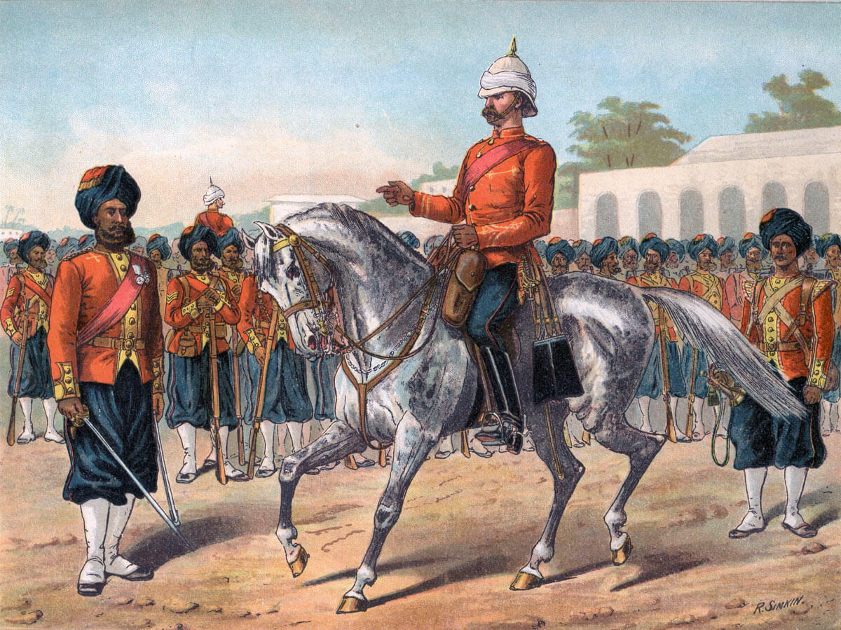 Bengal Native Infantry: Battle of Ahmed Khel on 19th April 1880 in the Second Afghan War: picture by Richard Simkin