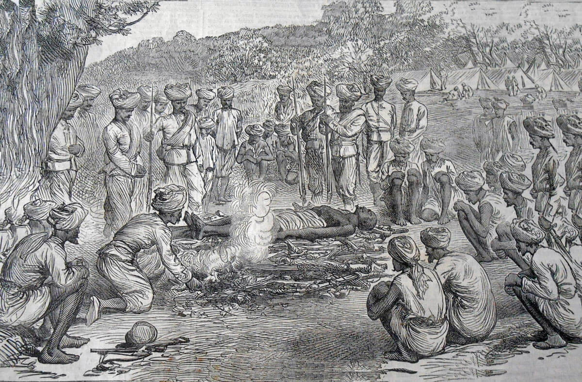 Hindu troops burning their dead after the Battle of Peiwar Kotal on 2nd December 1878 in the Second Afghan War