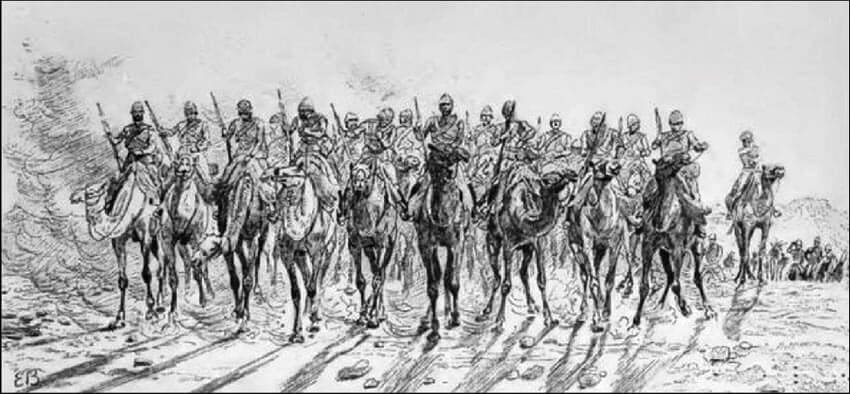 Desert Column marches out from Korti: Battle of Abu Klea on 17th January 1885 in the Sudanese War: drawing by Lady Butler