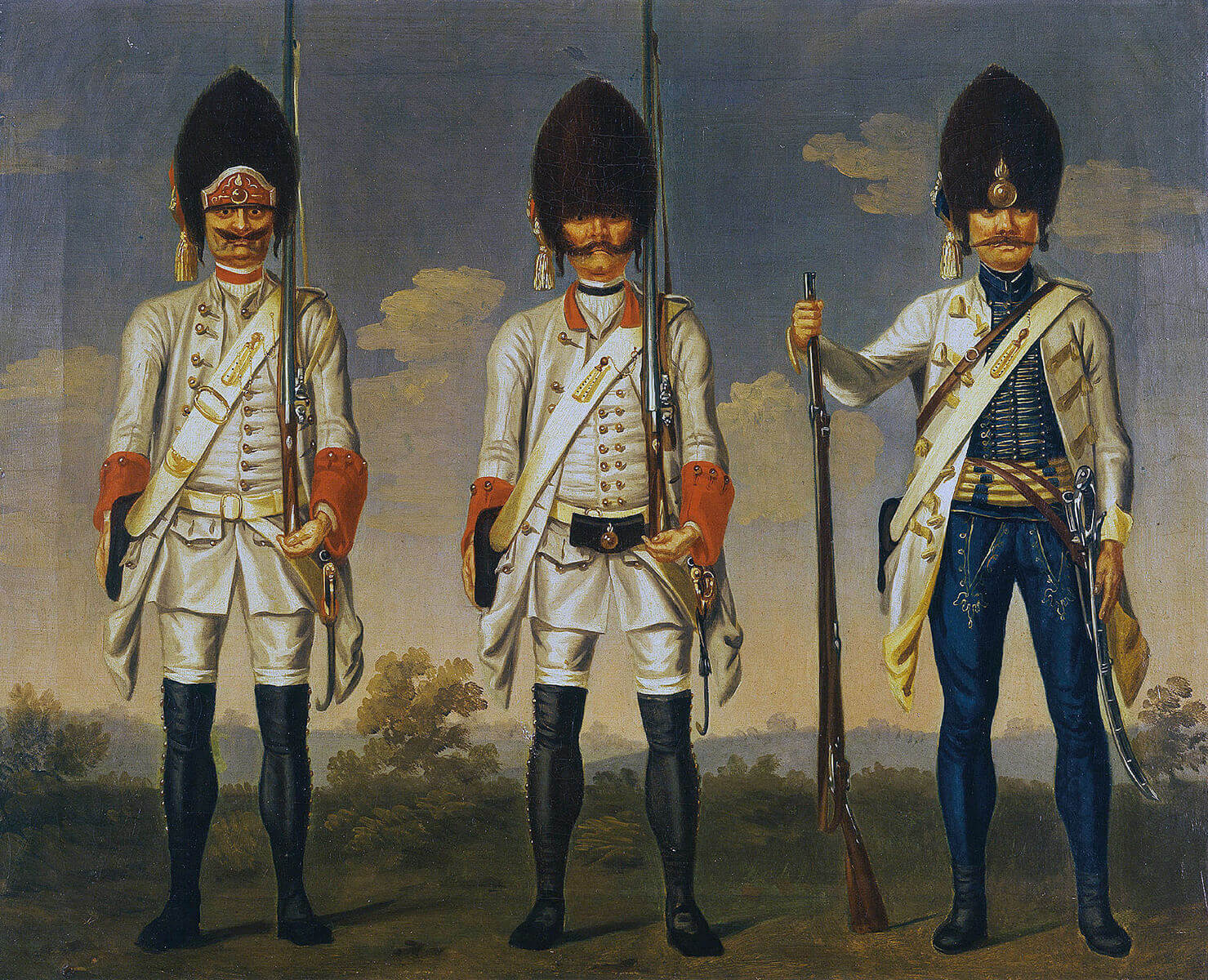 Austrian Infantry : Grenadiers of 2 Austrian regiments and the Hungarian regiment of Ujvary: Battle of Mollwitz fought on 10th April 1745 in the First Silesian War: picture by David Morier
