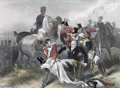 Mortal wounding of Major General Sir Robert Sale at the Battle of Moodkee on 18th December 1845 during the First Sikh War