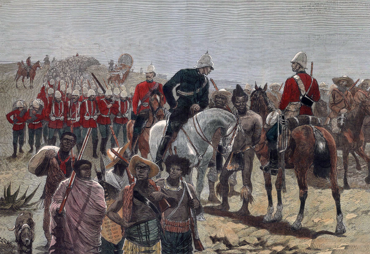 'On the road to Ulundi': A British officer interviewing a Zulu prisoner after the Battle of Ulundi on 4th July 1879 in the Zulu War: picture by Richard Caton Woodville