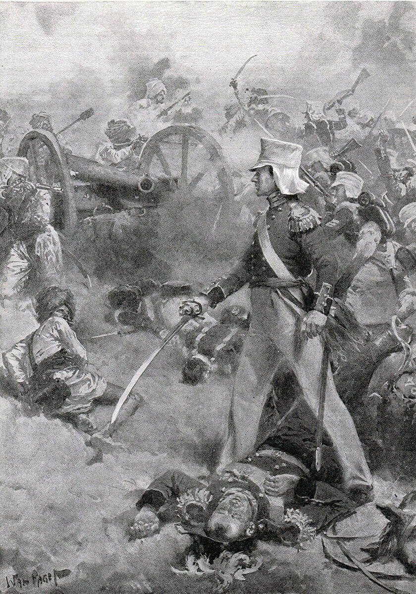Brigadier Pennycuick's body defended by his son at the Battle of Chillianwallah on 13th January 1849 during the Second Sikh War: picture by Wal Paget