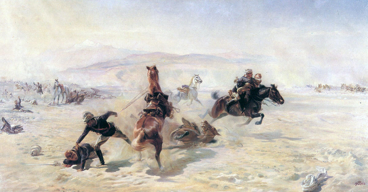 Saving the wounded at the Battle of Maiwand on 26th July 1880 in the Second Afghan War: picture by Lady Butler