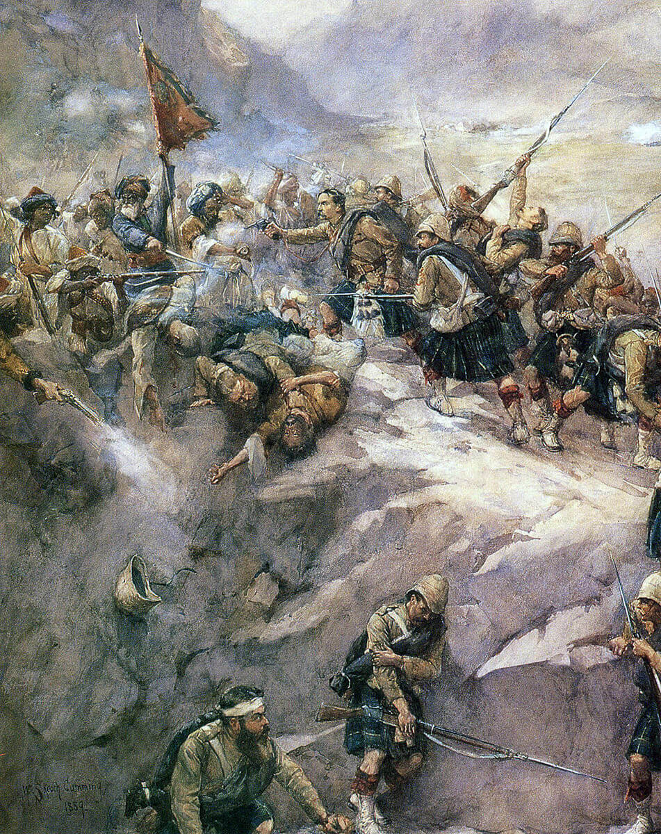 92nd Highlanders storming the heights at the Battle of Charasiab on 9th October 1879 in the Second Afghan War