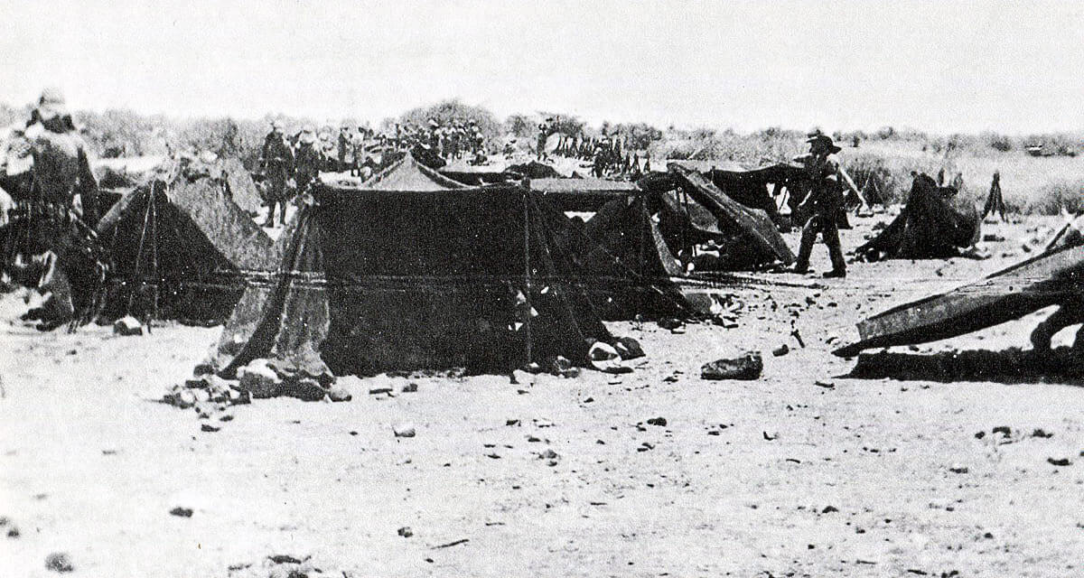 British bivouac in the desert: Battle of Atbara on 8th April 1898 in the Sudanese War