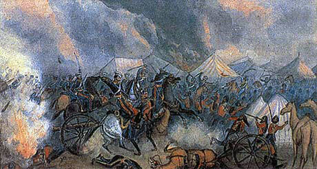 Attack of 3rd King's Light Dragoons on the Sikh camp at the Battle of Ferozeshah on 22nd December 1845 during the First Sikh War