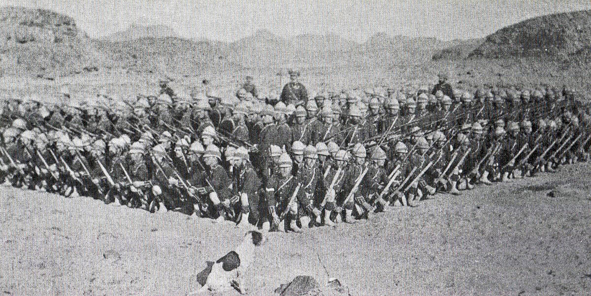 Cameron Highlanders forming square in the desert: Battle of Atbara on 8th April 1898 in the Sudanese War