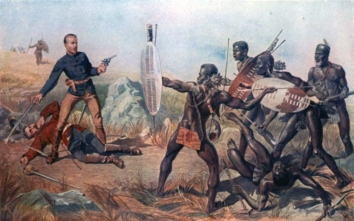 Deaths of Lieutenants Melville and Coghill at the Battle of Isandlwana on 22nd January 1879 in the Zulu War