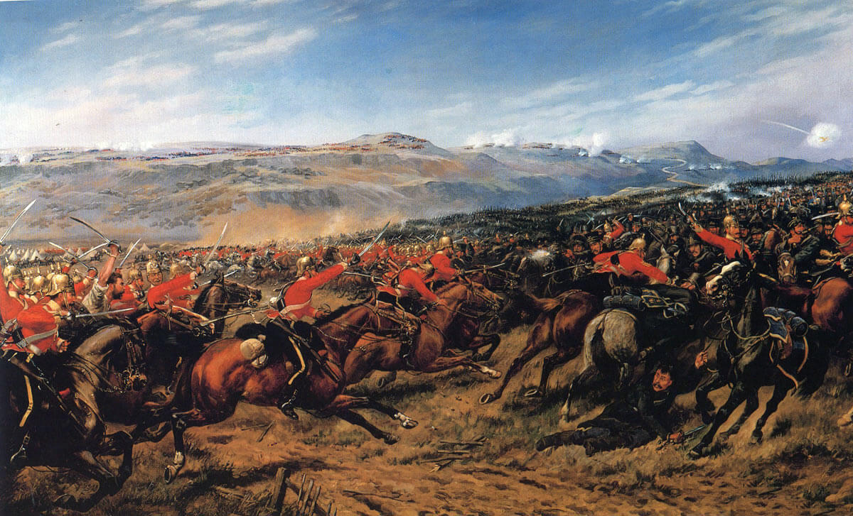 Charge of the Heavy Brigade at the Battle of Balaclava on 25th October 1854 in the Crimean War: picture by Godfrey Douglas Giles