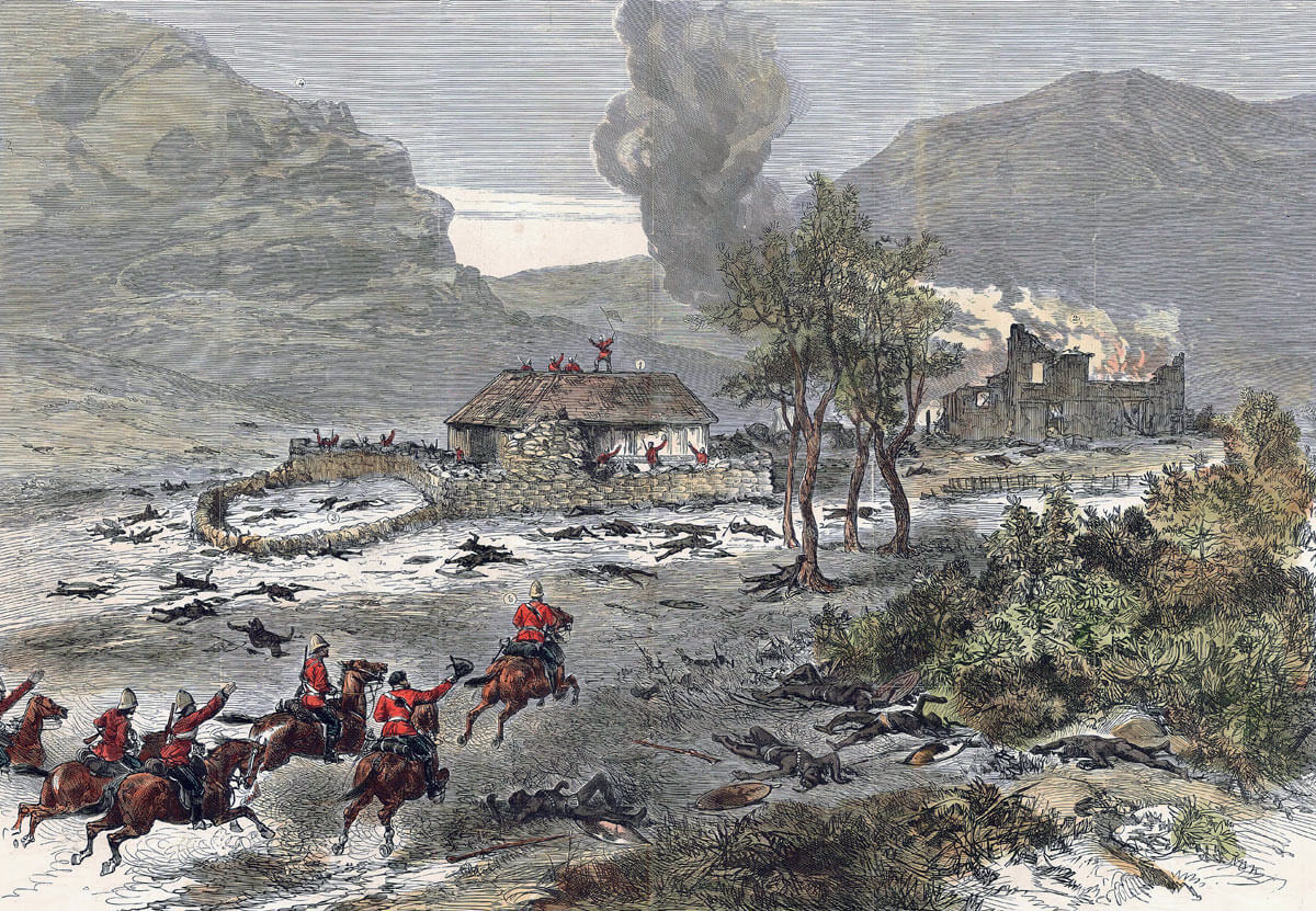 Relief of the garrison at the end of the Battle of Rorke's Drift on 22nd January 1879 in the Zulu War