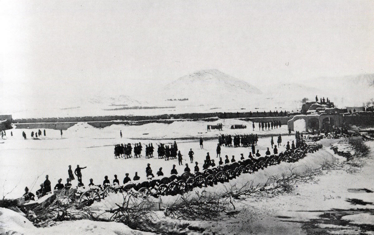 Abattis surrounding the Sherpur Cantonment with Afghan guns in the ditch: Battle of Kabul December 1879 in the Second Afghan War