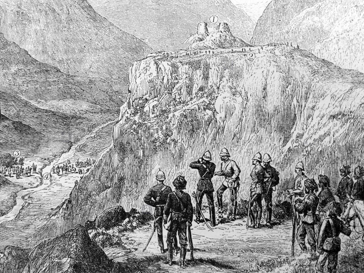 General Sir Sam Browne VC directing the attack on the Afghan fort at the Battle of Ali Masjid on 21st November 1878 in the Second Afghan War