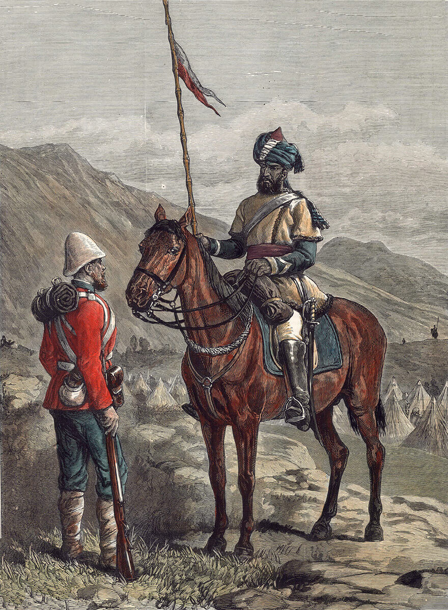 British infantryman and a Bengal Cavalry Sowar: Battle of Ahmed Khel on 19th April 1880 in the Second Afghan War