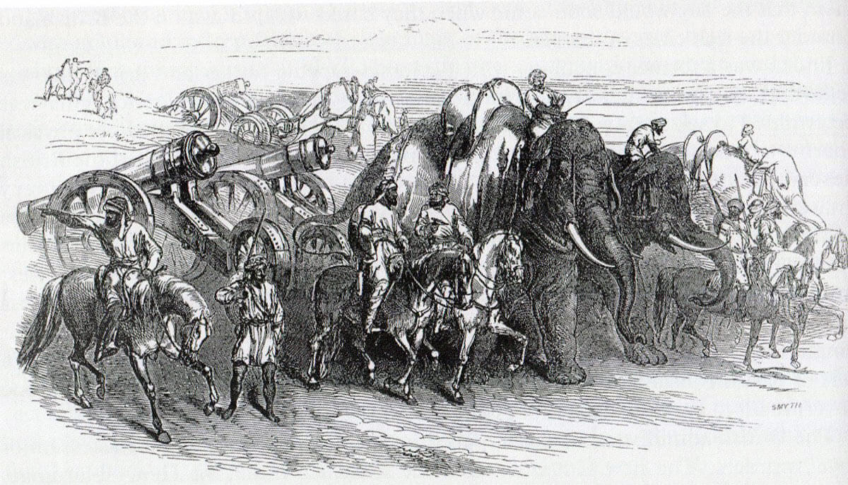 Sikh guns pulled by elephants: Battle of Chillianwallah on 13th January 1849 during the Second Sikh War
