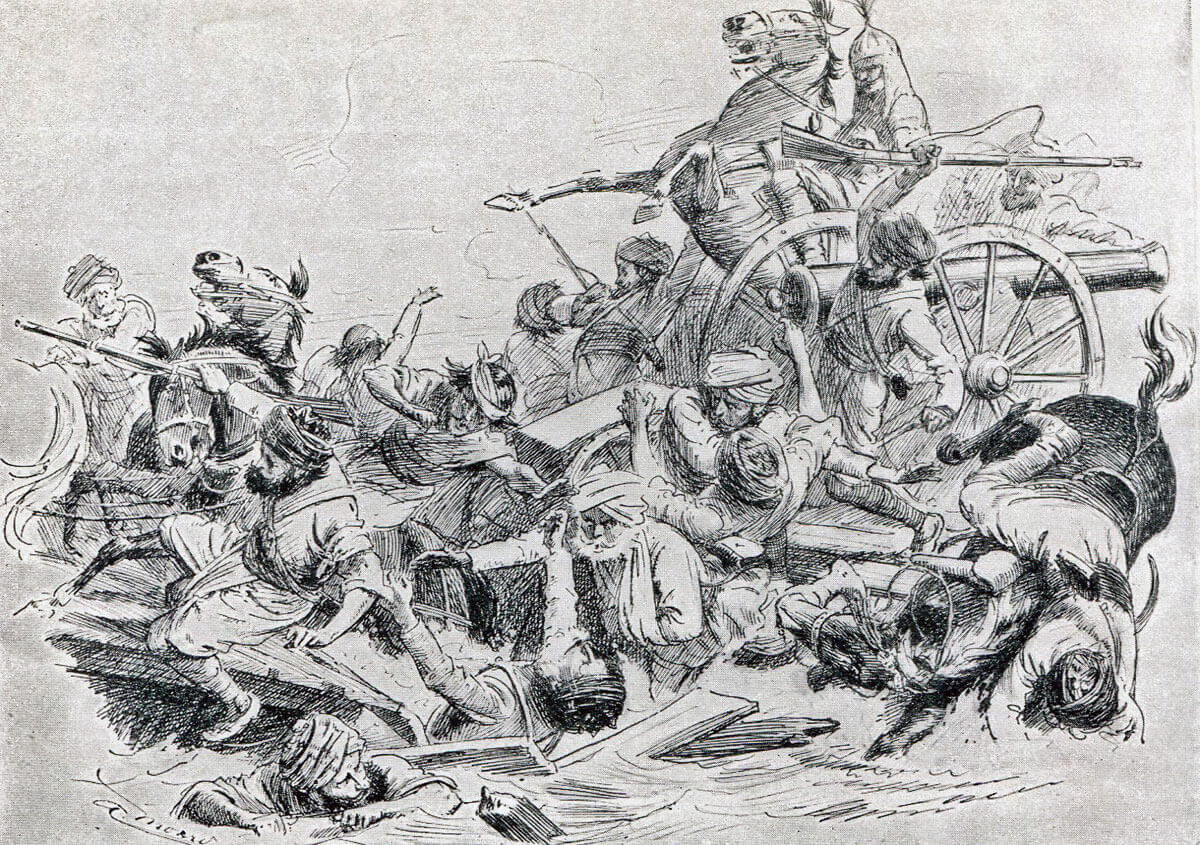 Struggle on the Bridge of Boats over the Sutlej River at the Battle of Sobraon on 10th February 1846 during the First Sikh War