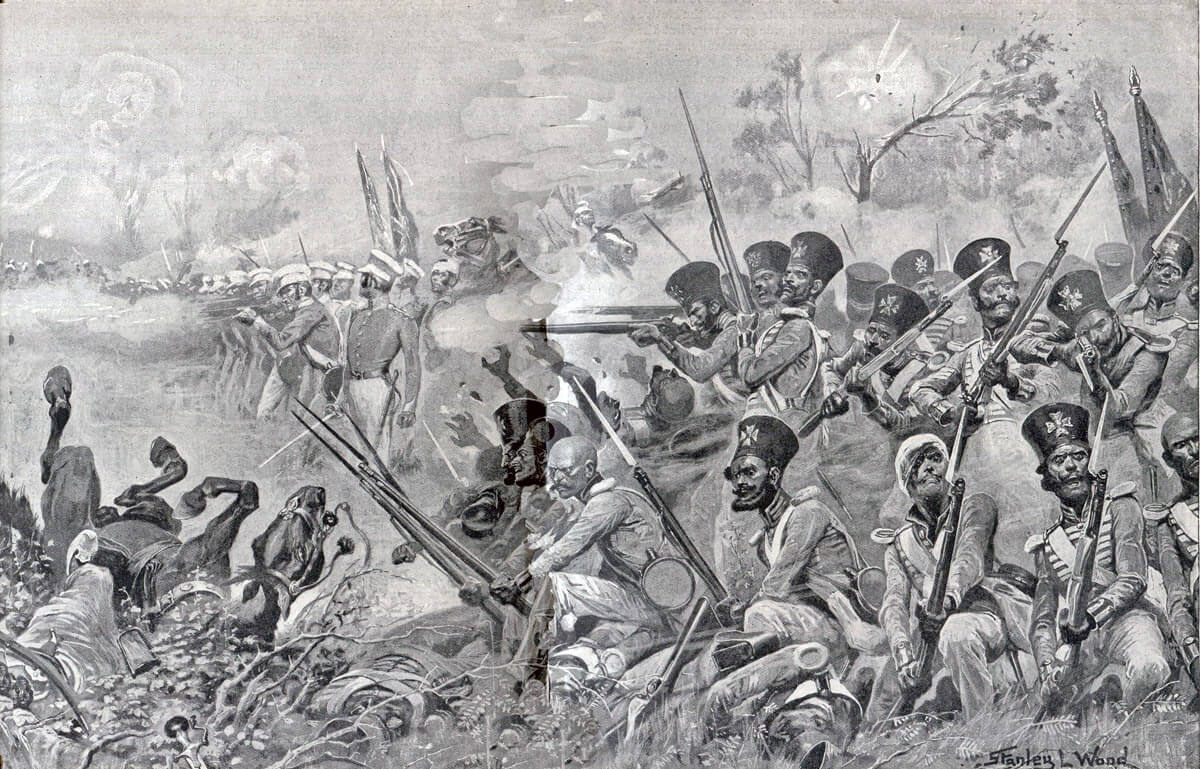 Godby's brigade assailed by the Sikhs at the Battle of Chillianwallah on 13th January 1849 during the Second Sikh War: picture by Stanley L. Wood