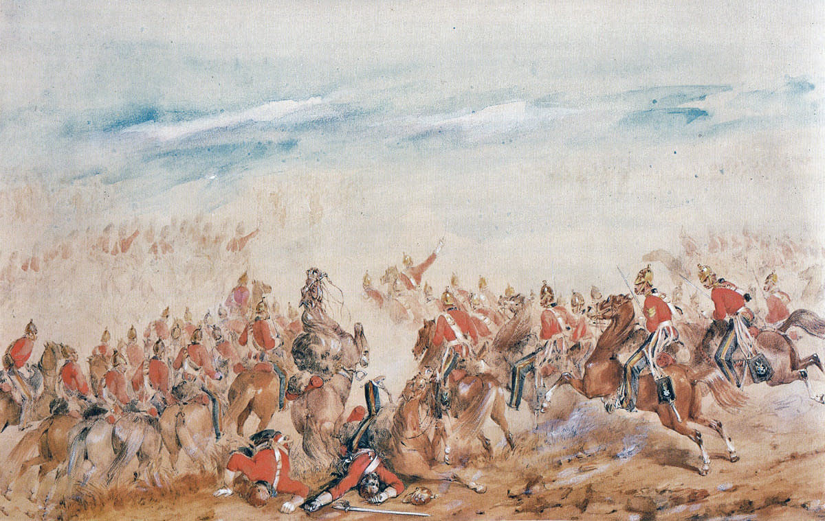 Charge of the Heavy Brigade at the Battle of Balaclava on 25th October 1854 in the Crimean War: picture by Orlando Norie